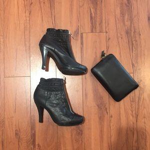 Michael Kors Black zip up booties
